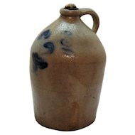 Antique Stone Ware Salt Glazed Jug Cobalt Blue Paint 1880s Good Condition