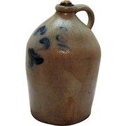 Antique Stone Ware Salt Glazed Jug Cobalt Blue Paint 1880s Good Condition