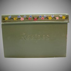 Vintage Metal Recipes Box with Divider 1960s Good Condition