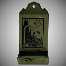 Vintage Metal Match Holder with Silhouette of Southern Lady 1920-30s Good Condition