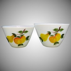 Two vintage Fire King Splash Proof Bowls with Gay Fad Fruit Motifs 1950-60s Very Good Condition