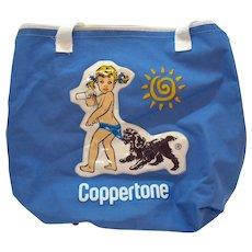 bab1b3ebdf25 Vintage Coppertone Canvas Tote Bag Zipper Top Plastic Motif 1960-70s Vintage  Condition