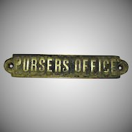 Vintage Brass/Bronze Pursers Office Door Sign Early 1900s Good Condition