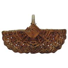 Vintage Primitive Hand Woven Splint Harvest/Gathering Basket Early 1900s Good Vintage Condition