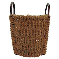 Vintage Folk Art Primitive Hand Woven Rattan Wood Basket Two Bentwood Handles Good Vintage Condition