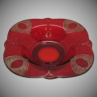 Vintage Paden City Ruby Console bowl Diana Etching 1920-30s Good Vintage Condition