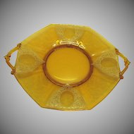 Vintage Paden City Amber Two Handled Serving Plate Diana Etching Louts Decorating Co. 1920-30s Good Vintage Condition