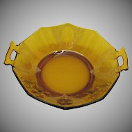 Vintage Paden City Amber Two Handled 10 Sided Bowl Diana Etching Lotus Decorating Co. 1920-30s Good Condition