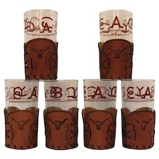 Six Vintage Old Fashion Glasses Western Theme Tooled Leather Holders Bamco Leather Prod. C. Manitou Springs Colorado 1950s Good Condition