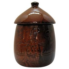 Vintage Brown Glazed Cookie Jar with Three Figures Incised into Surface 1950-60s Good Condition