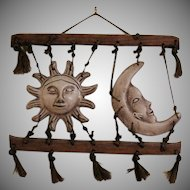 Vintage 1960s Folk Art Moon & Sun Macrame Wall Décor Good Condition