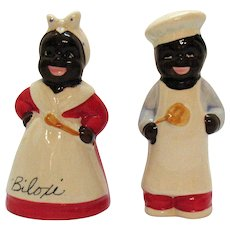 Vintage Black Americana S&P Shakers Man & Woman Chefs Biloxi Souvenir 1950s Good Condition