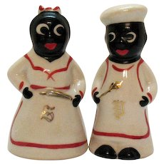 Vintage Black Americana S&P Shakers 1950s Good Condition