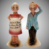Vintage S&P Shakers 1950s Comical Pregnant Woman and Older Husband Good Condition