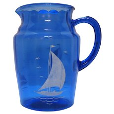 Vintage Hazel Atlas Cobalt Blue Sportsman's Series Glass Pitcher 1930s Good Vintage Condition.