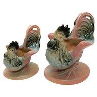 Vintage Ceramic Novelty 1950s Hull Chicken Planter #53 & #54 Good Condition