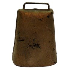 Vintage Heavy Metal Cow Bell with Steel Clapper 1930-40s Good Condition