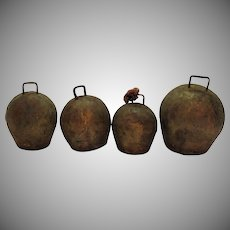 Four Vintage Metal Cow Bells Wooden Clappers Early 1900s Good Vintage Condition
