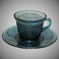 Vintage Rare Tiara 13 Cup & Saucer Sets Sandwich Pattern in Bi-Centennial Blue 1976 Only Good Condition