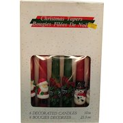 Vintage 3 Sets of Christmas Tapers Decorated Candles 1960s Good Unused Condition