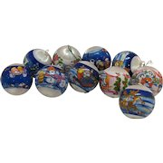 Ten Vintage 2 Inch Satin Ball Christmas tree Ornaments 1970s Good Condition
