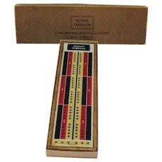 Vintage Bonus Cribbage Board 1959 Original Box Good Condition