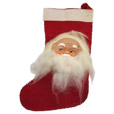Vintage Folk Art Christmas Stocking Vinyl Santa Face 1960s Good Condition