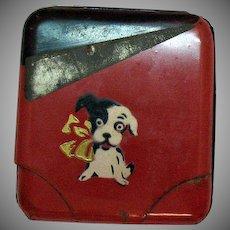 Vintage Metal Cigarette Case Dog Motif 1950s Vintage Condition