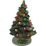 Vintage Ceramic Christmas tree Faux Plastic Lights Light up Base 1981 Good Condition