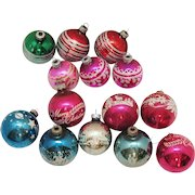 Vintage 15 Christmas tree Glass Ornaments 1950-60s