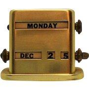 Vintage Anodized Aluminum Perpetual Desk Calendar 1960 Good Working Condition