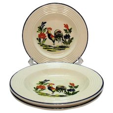 Vintage Varages of France Plate & 2 Rim soup Bowls Rooster Motif Good Condition