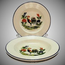 Vintage Varages of France Plate & 2 Rim soup Bowls Rooster Motif Good Condition
