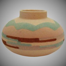 Vintage Navajo Indian Sand Art Vase by Sunwest Indian Art Ltd Signed NM 1970-80s Good Condition