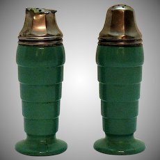 Vintage Hazel Atlas S&P Shakers Moderntone Platonite Pattern 1940-50s
