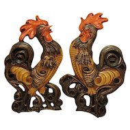 Vintage Rooster Plaster Wall Plaques 1950-60s