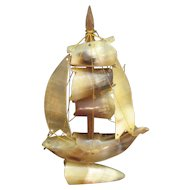 Vintage Sailing Ship Made From Cow Horns 1940-50s Good Condition