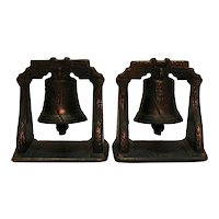 Vintage Liberty Bell Metal bookends 1920-40s Good Condition