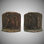 Vintage Cast Iron Bookends Millet's The Angelus Prayer for the Potato Crop 1920-40s Good Condition