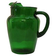 Vintage Anchor Hocking Forest Green Pitcher 86 Oz. 1950-67 Good Condition