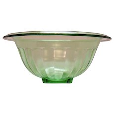 Vintage Anchor Hocking Green Transparent Rolled Edge Paneled Mixing Bowl 1940-60s Good Condition