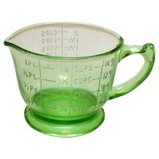 Vintage Hazel Atlas Transparent Green 2 Cup Pitcher/Measuring Cup 1930-40s Good Condition