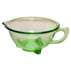 Vintage Hazel Atlas Green Transparent Batter/Mixing Bowl 1930-40s Good Condition