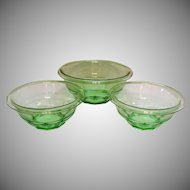 Vintage Hazel Atlas Transparent Green Set of 3 Rest Well Green Mixing Bowls 1929-30s