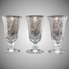 Vintage Paden City Footed Tumblers Springtime Etching 1930s Good Condition