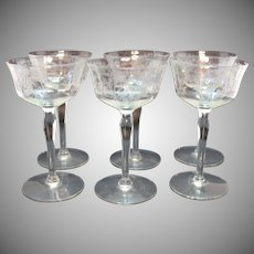 Vintage Paden City 6 Champagne/Cocktail Stems Springtime Etching 1930s Good Condition