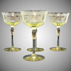 Vintage Paden City 4 Yellow Cocktail Glasses 1920-30s Diana Etching Good Condition