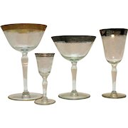 Four Vintage Paden City Stems 1920-30s Diana Etching Good Condition
