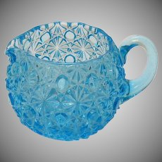 Vintage L.G. Wright Blue Daisy & Button Creamer 1970s Good Condition