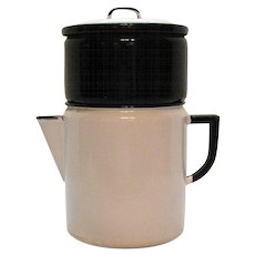 Vintage Enamelware Coffee Pot Drip Top 1940s Useable Condition